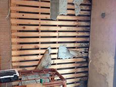 ライオンホームでリノベーション。キッチンの壁を解体しました。木材が剥き出しです。壁に断熱材が入っていないことがわかりました。