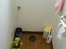 長岡京市のトイレリフォーム。便器の取り外しが終わりました。