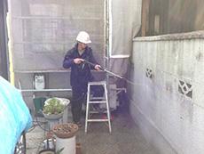 長岡京市の外壁屋根塗装リフォーム。ブロック塀もサービスで高圧洗浄機で洗いました。