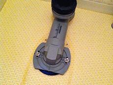 長岡京市のトイレリフォーム。リフォーム専用の排水アジャスターを取りつけ終わりました。これを付ける事により、床を解体する必要がなくなります。