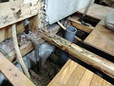 大山崎町のキッチンリフォーム。水道の配管を移動させるために床下をめくったところ、白アリの被害を発見しました。見つかって良かったです。補強をしておきました。