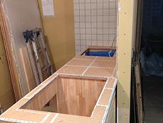 ライオンホームでキッチンリノベーション。オリジナルのキッチンを作っています。お客様のご希望通りに設計しました。