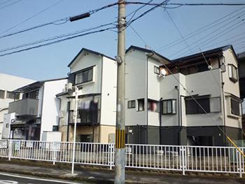 大山崎町の外壁塗装リフォーム。塗装リフォーム後の家の裏側からの外観です。まるで新築のようにキレイになりました。