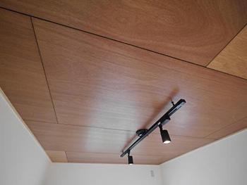 大山崎町の円団団地リノベーション。リフォーム後の天井です。黒いレールにダウンライト照明が2つ付いています。天井に張った板は下地に使うベニヤをクリア塗装して使用しました。