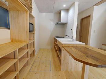 ライオンホームのキッチンリノベーション。キッチン全体が見える写真です。