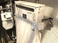 向日市の給湯器リフォーム。交換前の給湯器です。リンナイRFS-1612USAです。