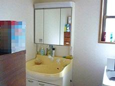 長岡京市の店舗をリビングにリフォーム。リフォーム前の洗面室。