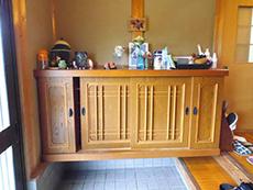 長岡京市のお風呂浴室リフォーム。玄関にある靴箱。