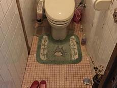 ライオンホームでリノベーション。トイレです。床も壁もピンクのタイル張りです。