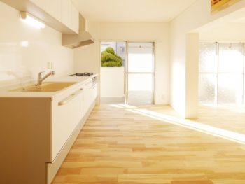大山崎町の中古円団マンションリノベーション。新しい床のフローリングは、無垢のバーチ材を使っています。