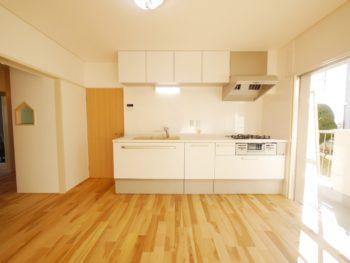 大山崎町の中古円団マンションリノベーション。キッチンを新しく取り替えました。同じ場所に壁付けで設置したので、部屋を広く使えます。