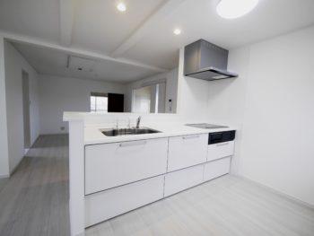 長岡京市の二世帯住宅リフォーム。リフォーム後のキッチンです。キッチンはクリナップ ラクエラ。美・サイレントシンク。水垢が付きにくい特殊コーティングがされたシンクです。
